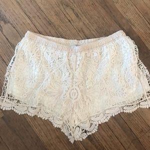 Pants - Cream Lace Shorties